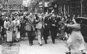 Wiiliam Yates celebrating his victory as Conservative candidate in the 1955 general election, Wellington. Yates, a former intelligence officer, went on to be a firm critic of Anthony Eden's handling of the Suez Crisis.